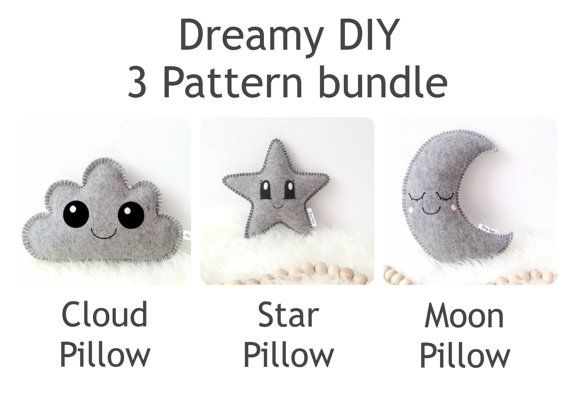 3 PDF kawaii sewing patterns: Star Pillow Sewing Pattern, Cloud ...