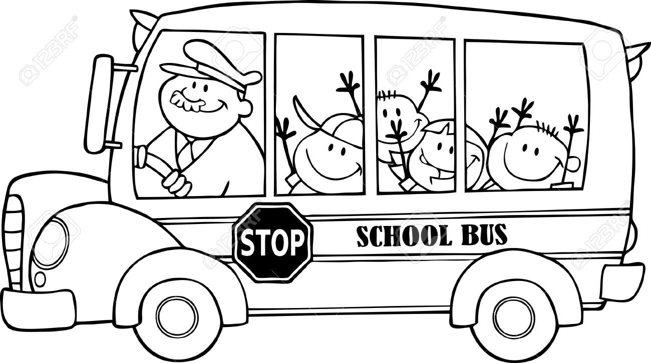 Best Bus Clipart Black And White 11174 In School Bus Outline