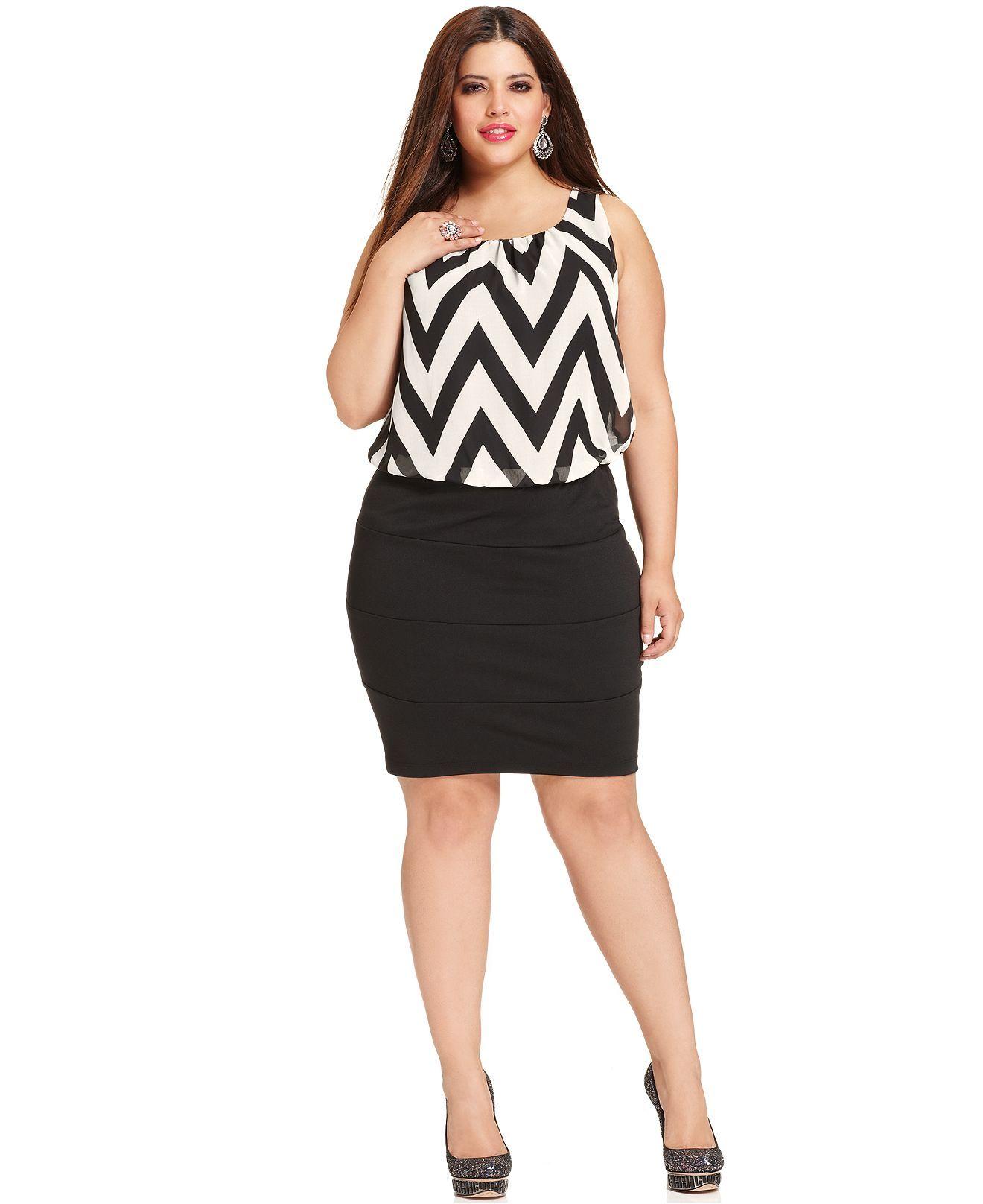 Trixxi Plus Size Dress, Sleeveless Striped Bandage - Plus ...
