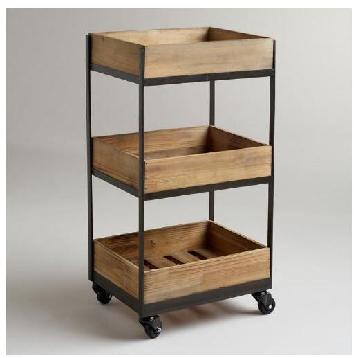 News Portable Rolling Wood Utility Cart Kitchen Office Bathroom Storage Shelf Stand Portable