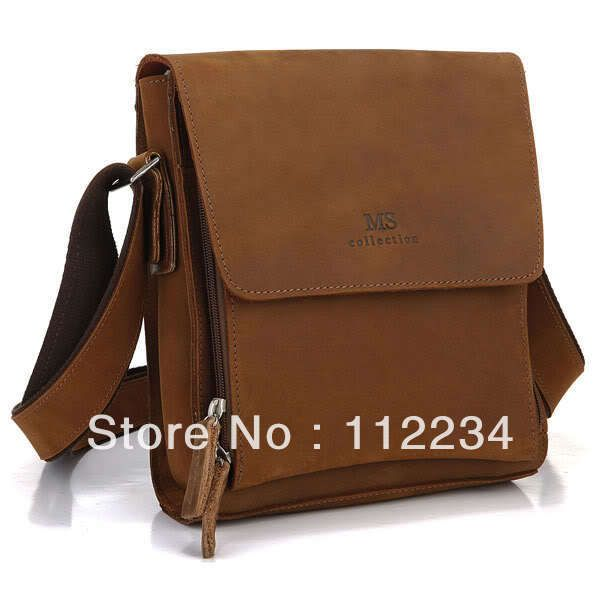 Aliexpress.com : Buy Brown Genuine Leather Trendy Men's Cross Body ...