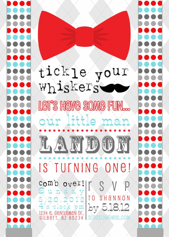Little Man Mustache Bow Tie Printable Birthday Party Invitation ...