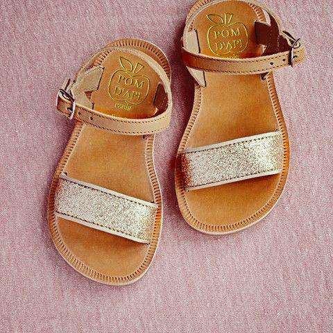 72b3b440b863 Pom d Api Girls Tan and Gold Glitter Sandal - I Adore Little Feet
