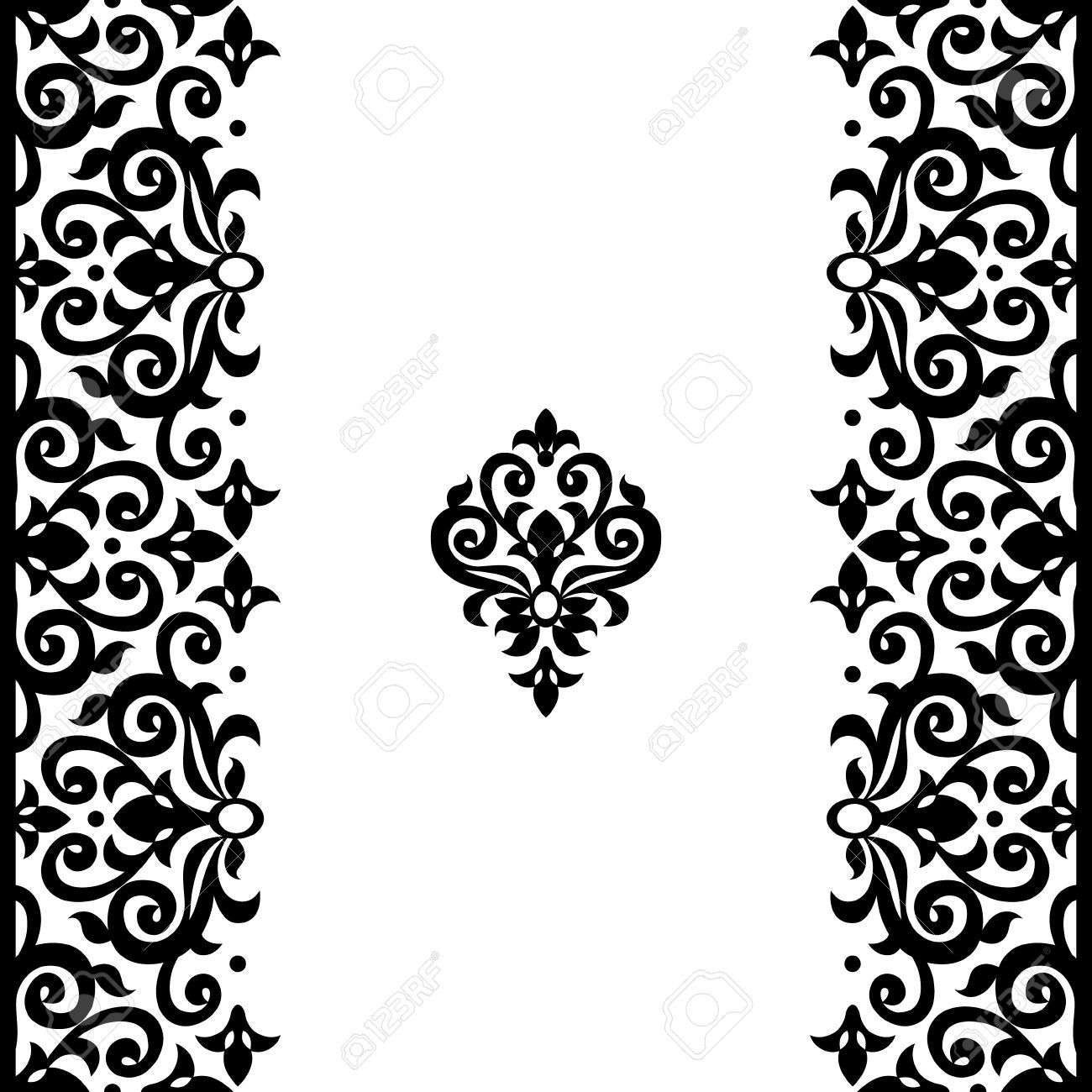 vector seamless border in victorian style ornate element