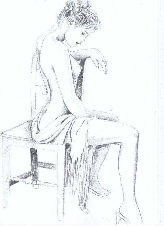 Femme Dessin Corps jeune femme assise sur une chaise | dessins en 2019 | pinterest