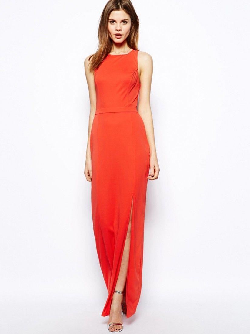 Red sleeveless split dress make it pinterest clothes fashion
