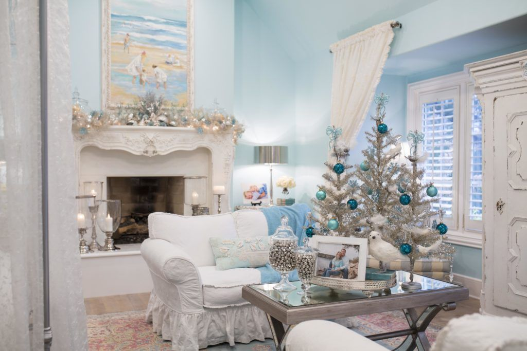 How To Decorate Your Bedrooms For Christmas Turtle Creek Lane Blue Christmas Decor Christmas Decorations Bedroom Christmas Bedroom