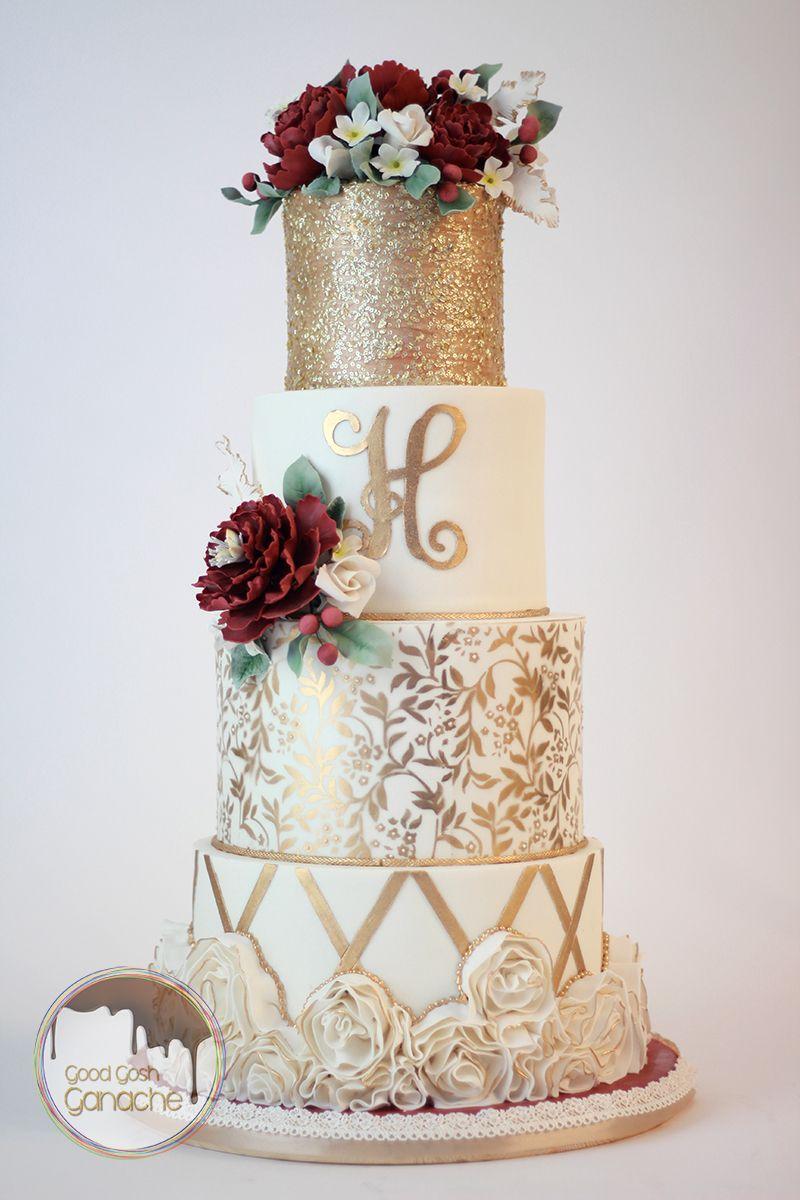 Gold Wedding Cake | Good Gosh Ganache - Texas | Pinterest | Gold ...