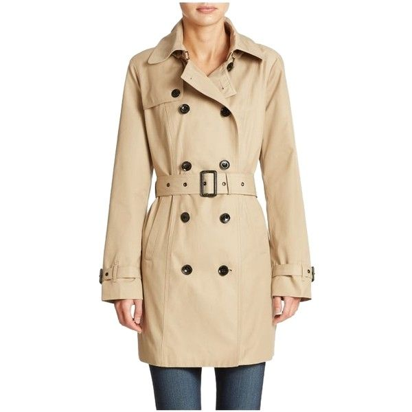 Pre-owned Michael Kors Trench Coat ($215) ❤ liked on Polyvore featuring outerwear, coats, khaki, double breasted belted coat, double breasted trench coat, double-breasted coat, belted coat and hooded coats