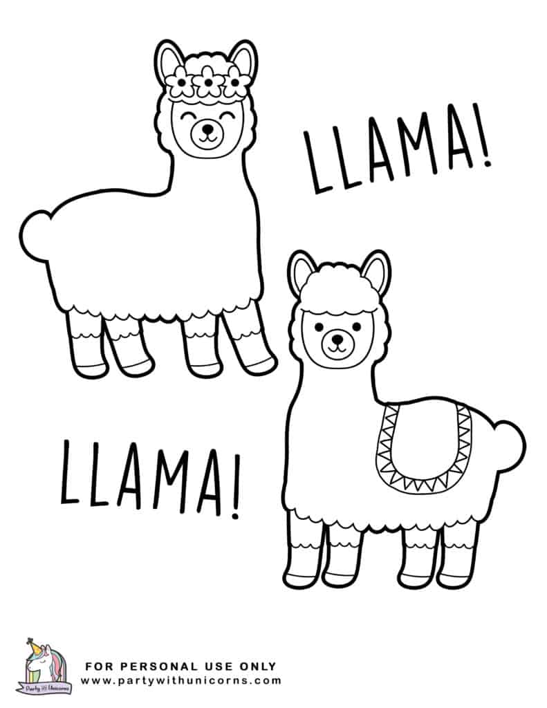 Kawaii Llama Coloring Pages