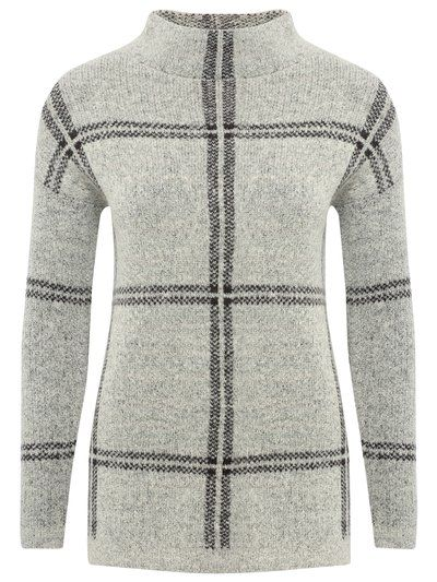 High neck check jumper | Knitwear