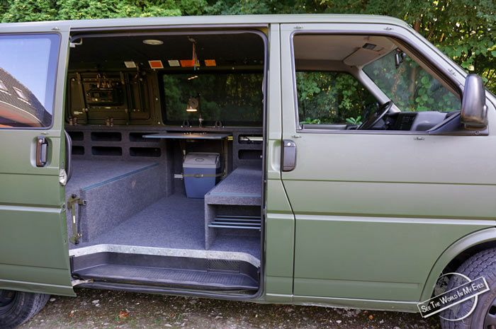 the t4 army van fully converted into a basic camper and. Black Bedroom Furniture Sets. Home Design Ideas