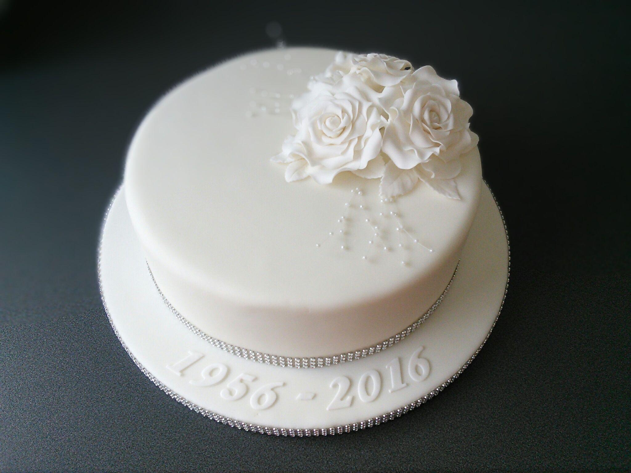 Diamond Wedding Anniversary cake with white roses and diamante ...