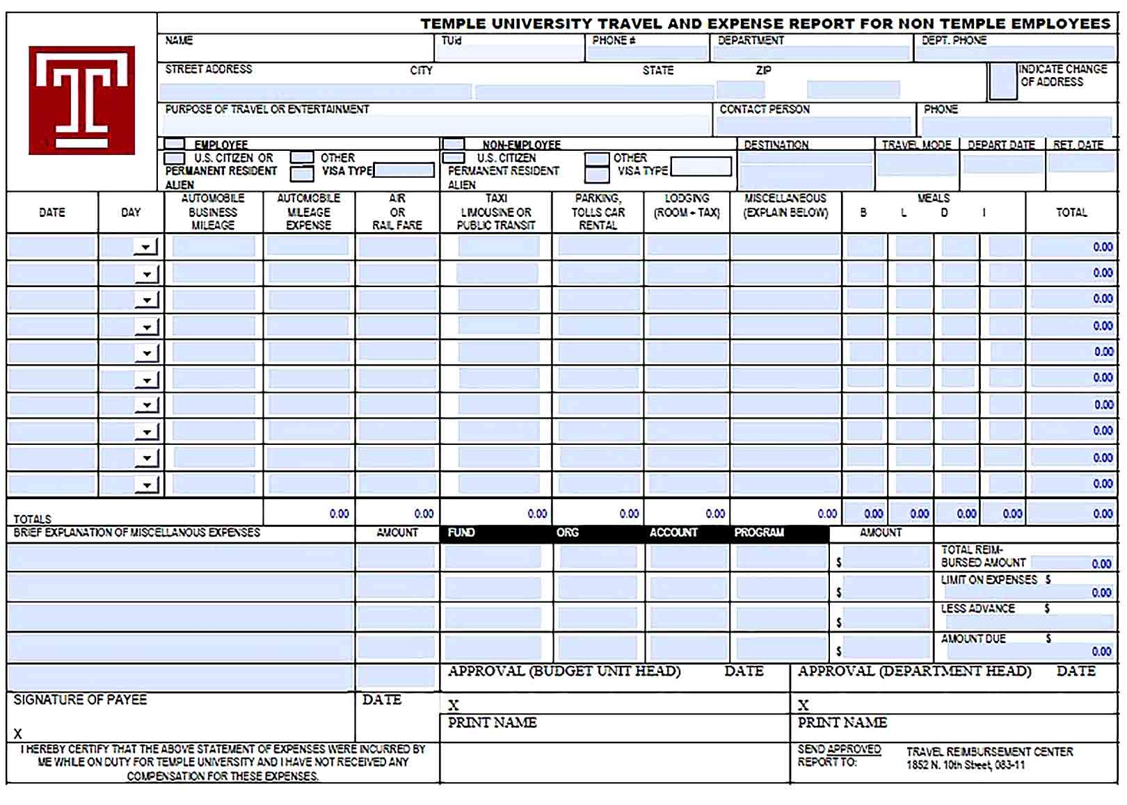 Free Expense Report Template