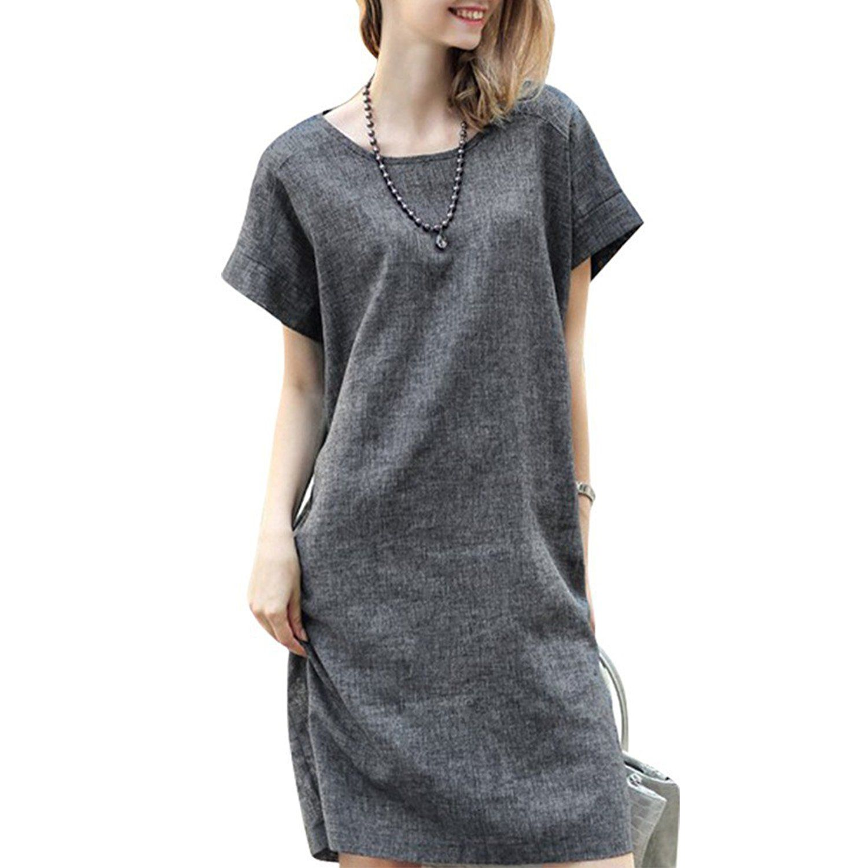 Ropalia women loose cotton linen dress short sleeve tunic belt shirt