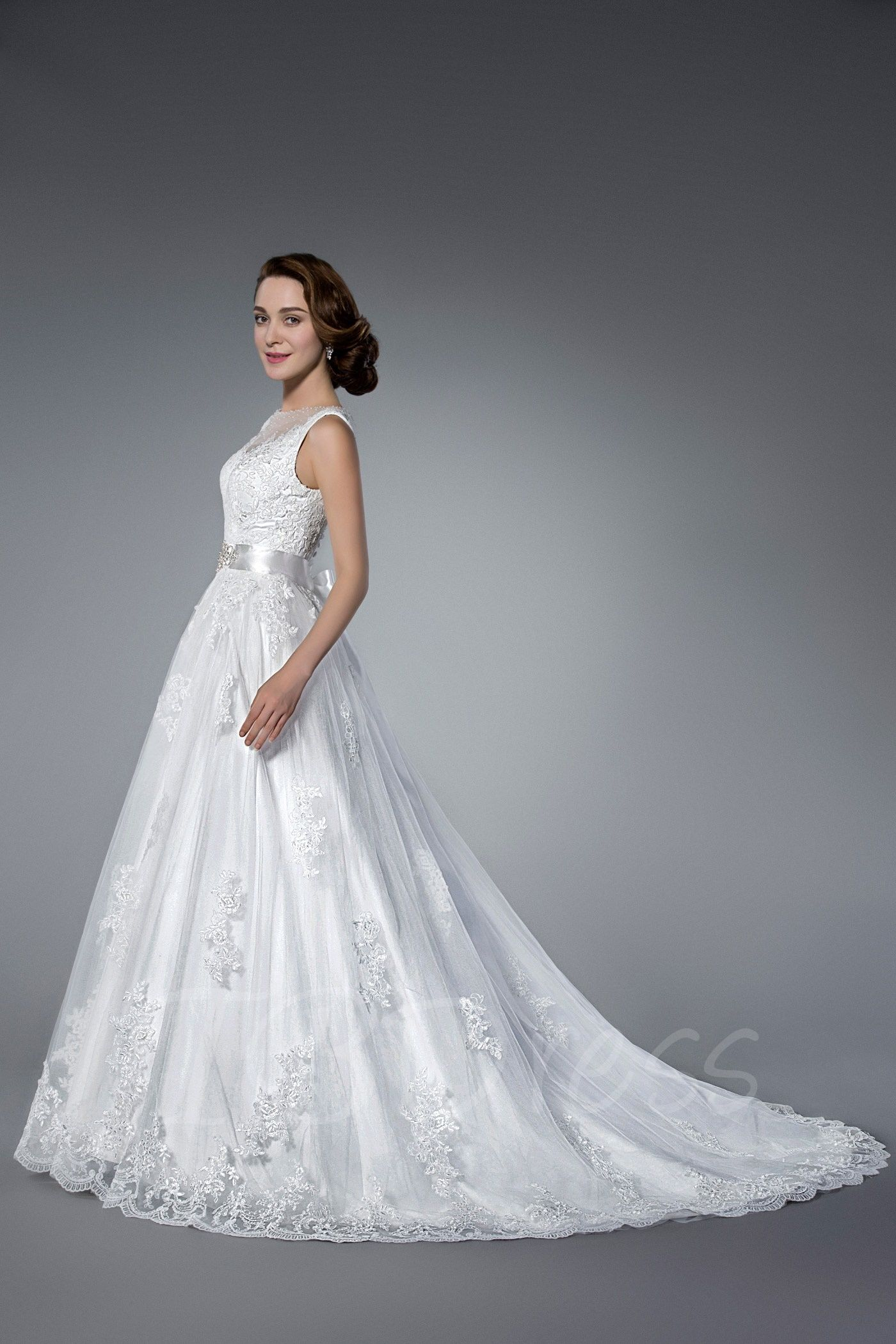 Appliques rhinestone sashes wedding dress wedding