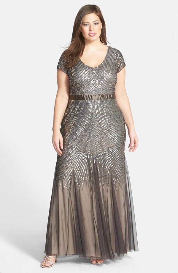 Beaded Cap Sleeve Gown Plus Size Fashion Pinterest Dresses