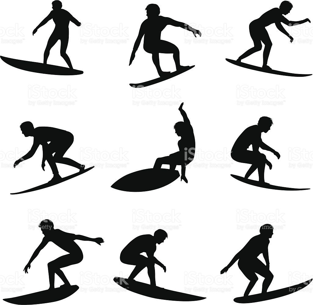 Surfing Silhouettes Download Also Includes Illustrator Cs3 File