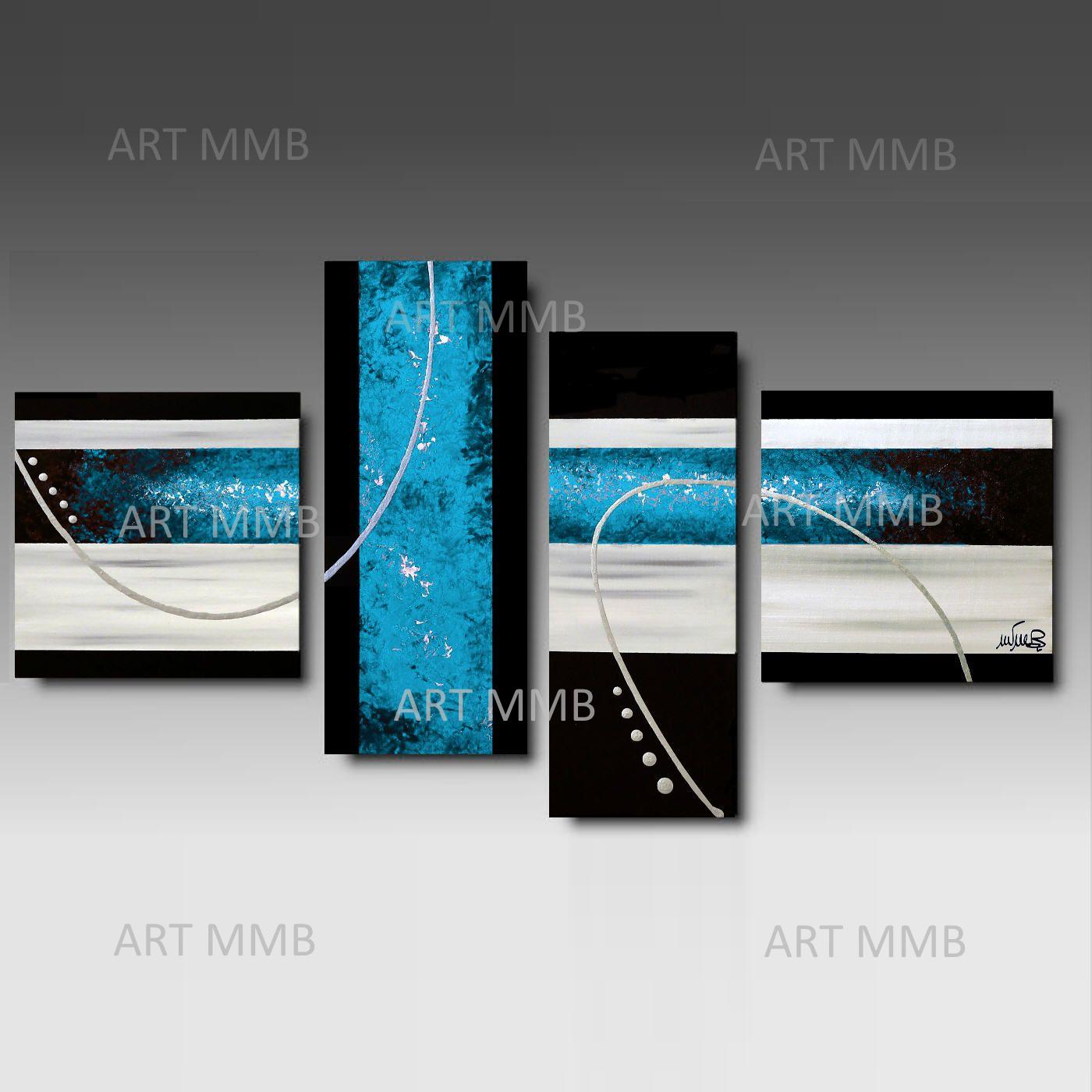 Produzione Quadri moderni astratti 100% dipinti a mano. 4 Quadri ...