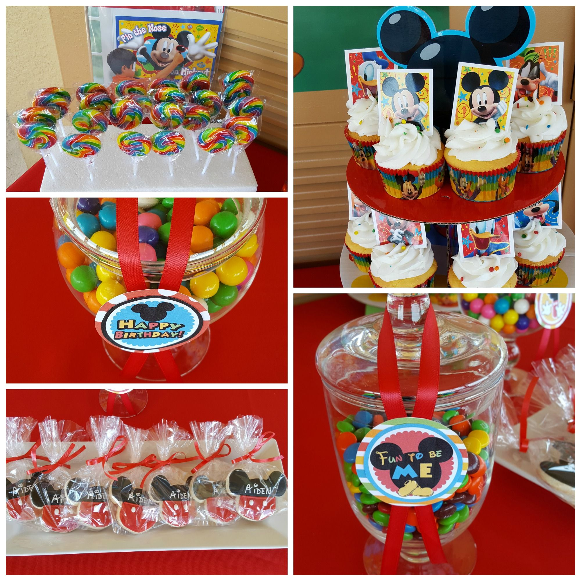 Mickey Mouse Club House Themed Candy Buffet Table Aiden S 1st Birthday Orlando Fl Milestone Birthday Party Birthday Party Rentals Orlando Wedding Planner