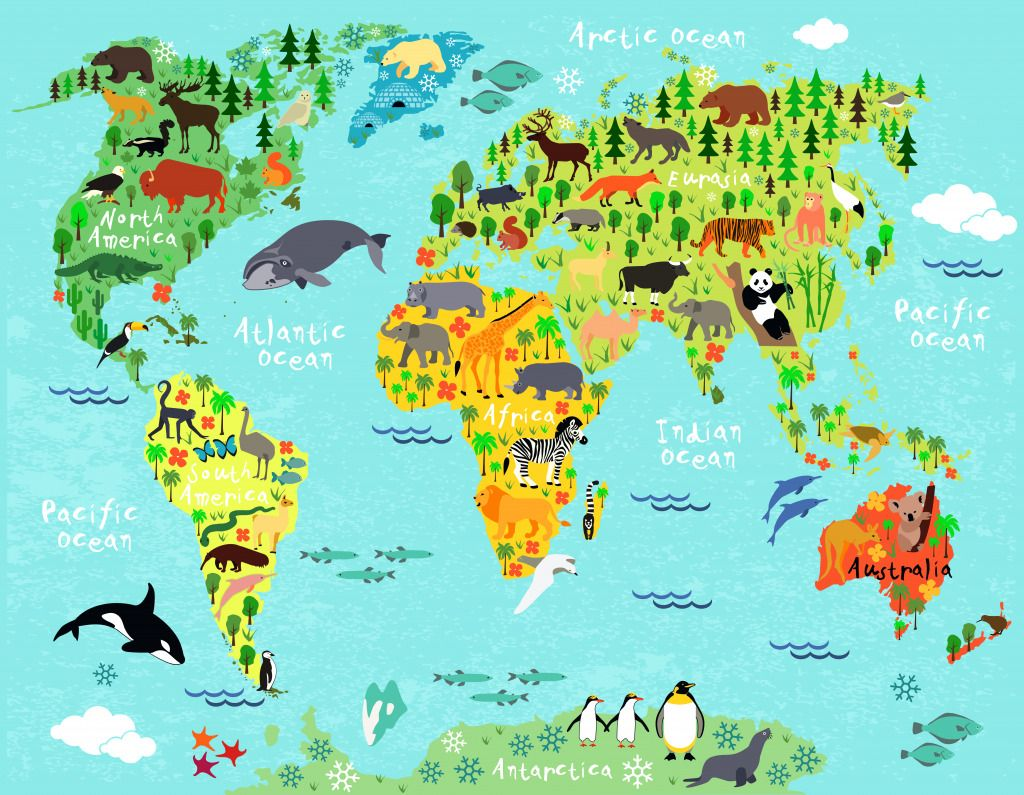 Animals of the world puzzle in animals jigsaw puzzles on world map kids room art nursery art nursery print by holycowcanvas gumiabroncs Choice Image