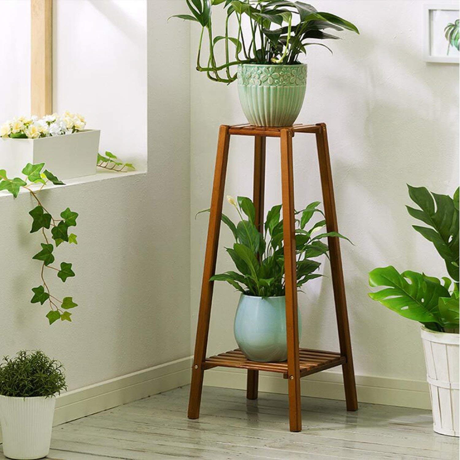 Magshion Bamboo 2 Tier Tall Plant Stand Pot Holder Small Space