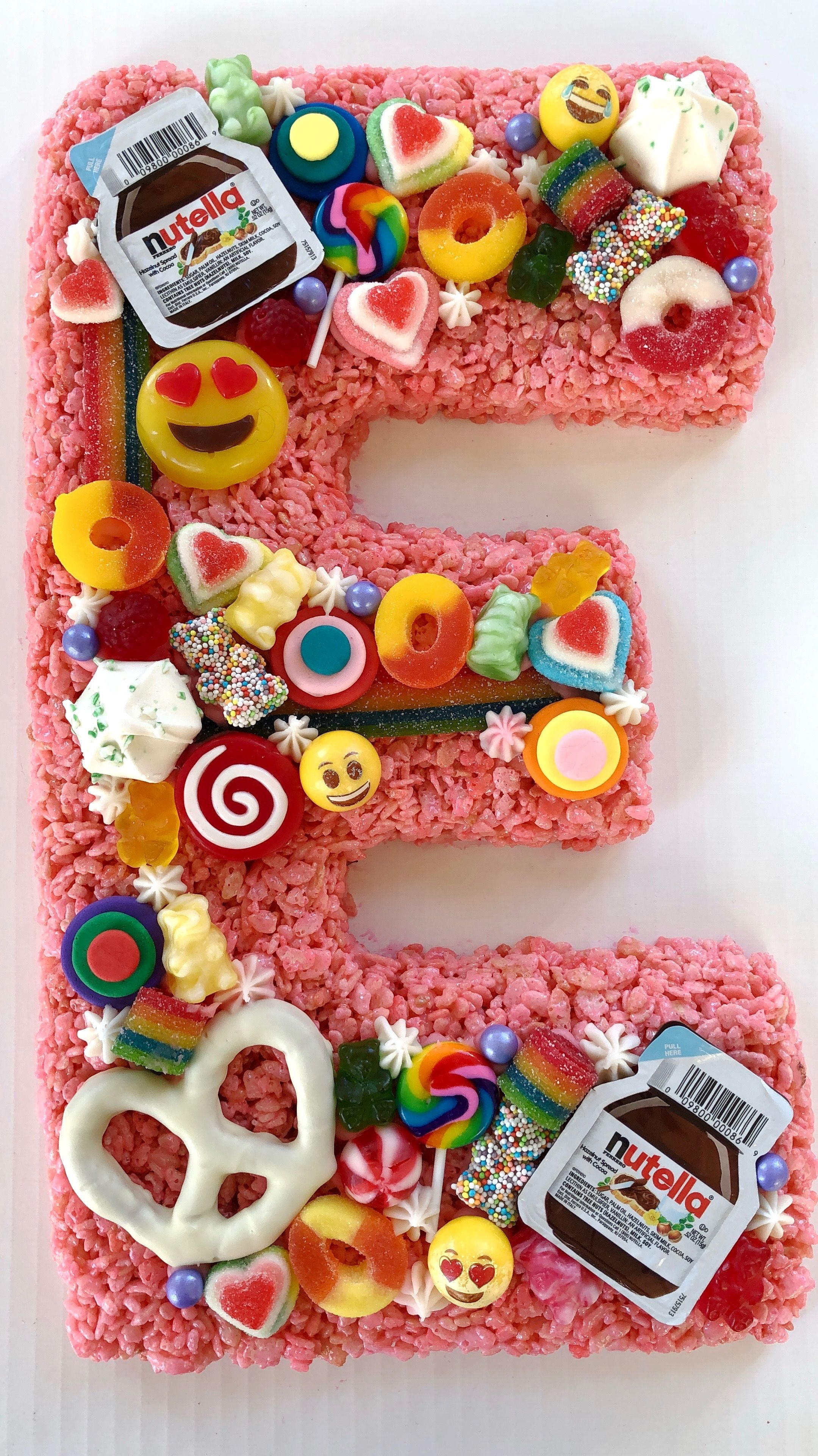 Rice Krispie Cake Covered In Candies Emojis And Nutella From