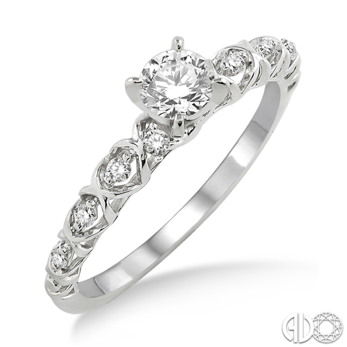 14 Karat White Gold Engagement Ring with a Round Cut Center Stone | Ashi Style: 14935FHWG-LE