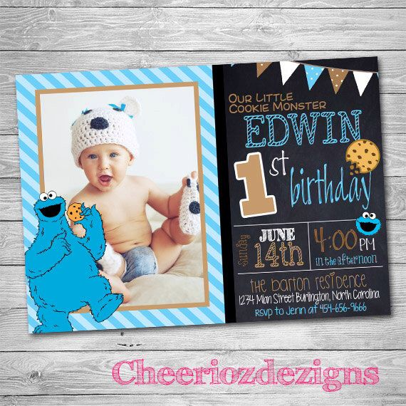 Cookie Monster Birthday Invitation- Monster Party -Boy or Girl Any Age - Custom - Printable- Digital File by CheeriozDezigns on Etsy https://www.etsy.com/listing/239946162/cookie-monster-birthday-invitation