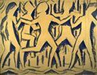 1914 aquarelle - ronde de danseurs