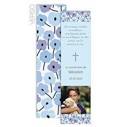 fleurs bleues un signet de communion marque page cr er en ligne avec photo du communiant et. Black Bedroom Furniture Sets. Home Design Ideas