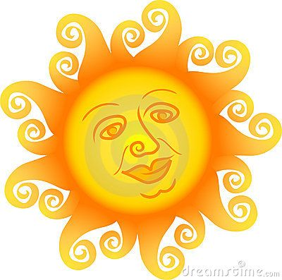 Sun Faces/Free Clip Art | Cartoon illustration of a sun with a ...