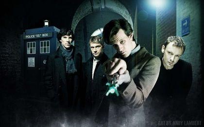 The doctor, the Master, Sherlock, and John.