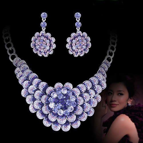 925 SILVER WHITE crystal necklace earrings set bridal Jewelry wedding ...    aliexpress.com