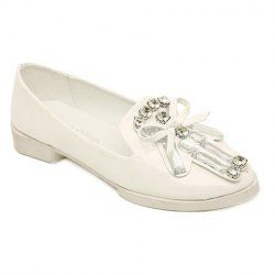 $13.42 Punk Style Women's Flat Shoes With Rhinestones and Bowknot Design