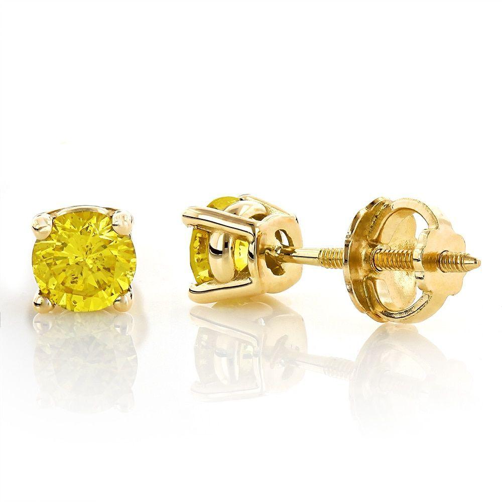 10K Yellow Gold Flower Studs 0.25 CT Canary Diamond Earring Men//Women Screw Back