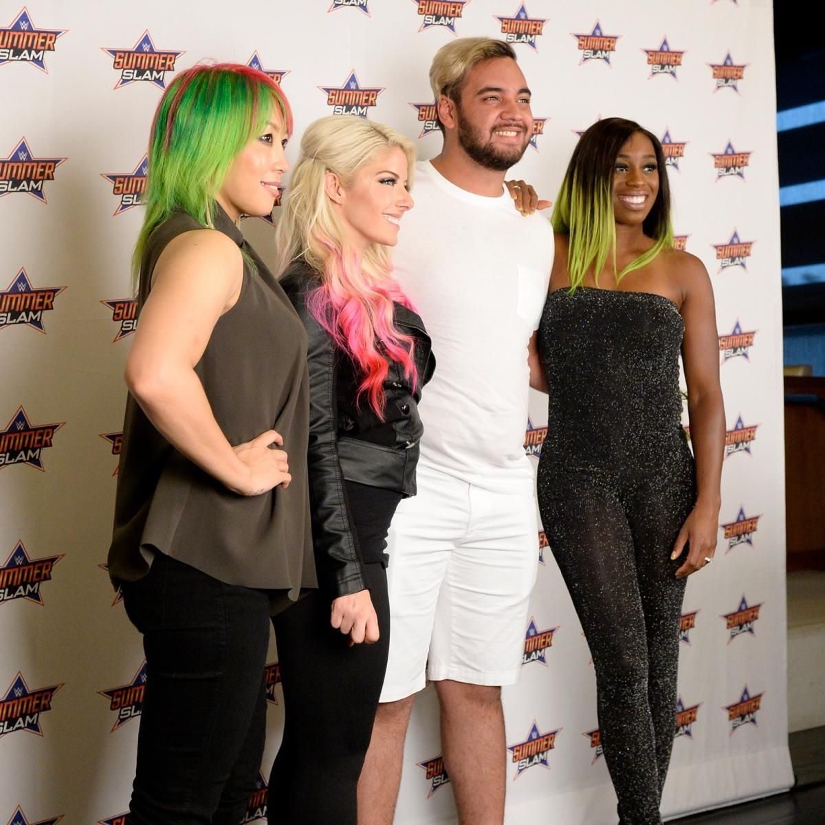 Alexa bliss naomi asuka and shinsuke nakamura take part in the the biggest event of the summer roars on as alexa bliss naomi asuka and shinsuke nakamura meet the wwe universe at brooklyn ns barclays center for a kristyandbryce Image collections