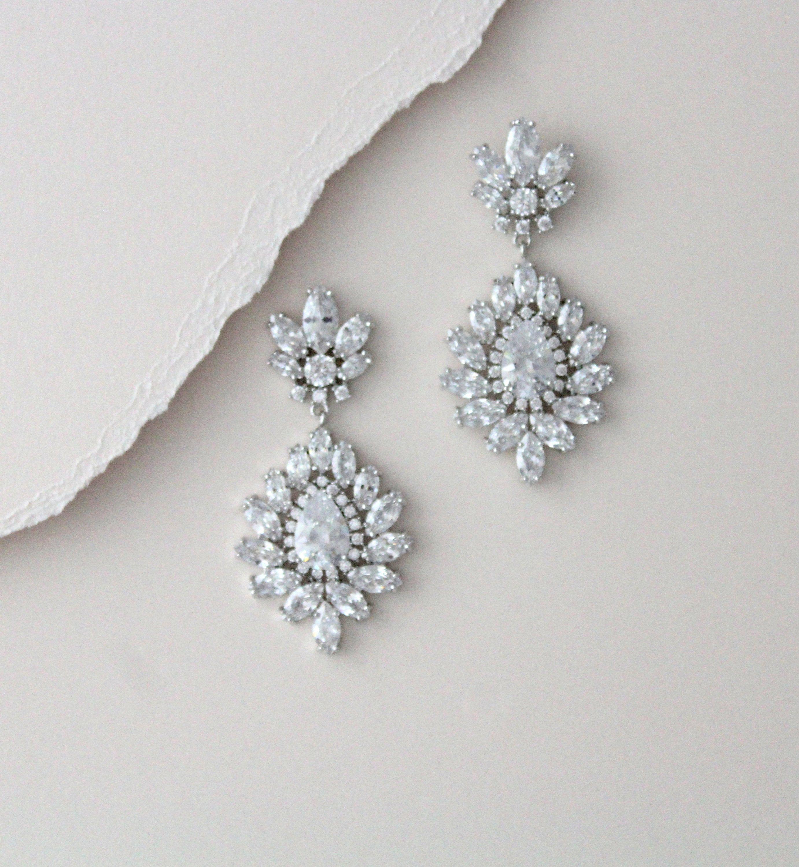 Crystal Bridal Earrings Chandelier Wedding Earrings Cz Bridal Etsy In 2020 Gold Bridal Earrings Crystal Bridal Earrings Blue Wedding Jewelry