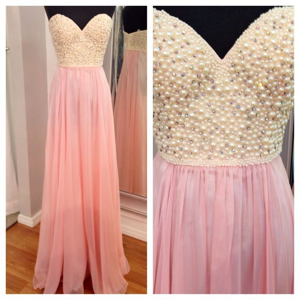 Spring Summer Hot Sell Long Prom Dresses Pink Handmade Pearl ...