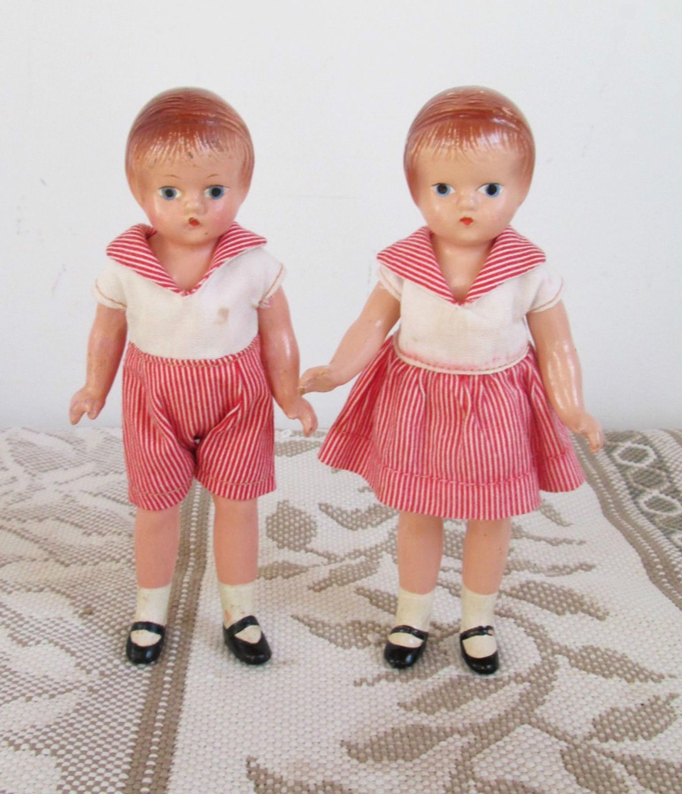 "Effanbee Wee Patsy Twin Dolls Boy Girl 6"" tall all position"