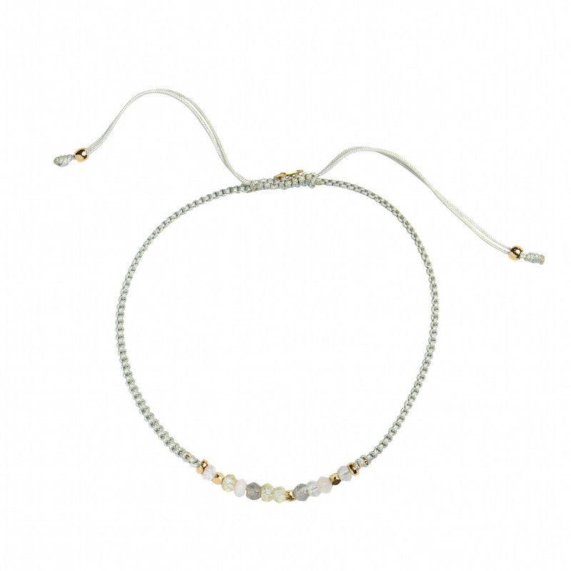 Stine A Candy Bracelet Light Mix Gemstone og Khakigrøn Bånd