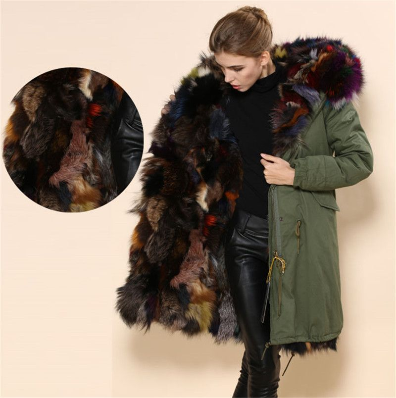 Italy design keep warm fashion women real fur coats multi winter ...