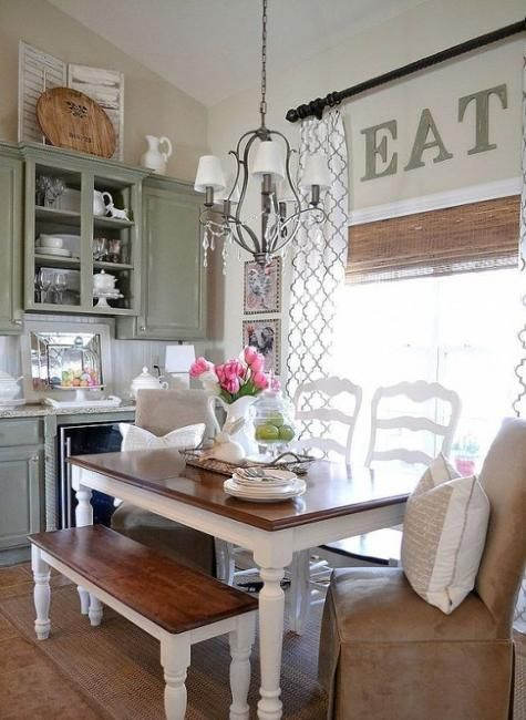 Modern dining room design and decorating in vintage style for Mobilia kitchen table