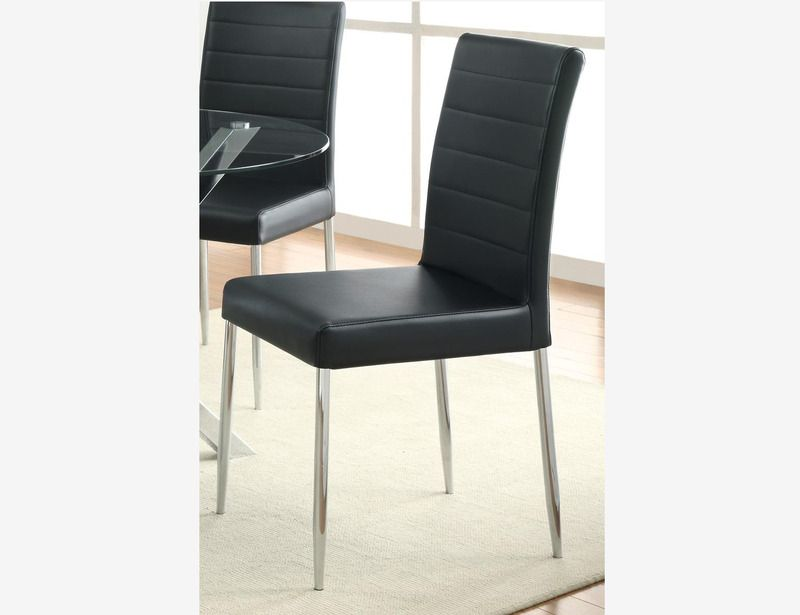 4 PC Dining Side Chairs Black Leather Seat Chrome Legs 120767BLK