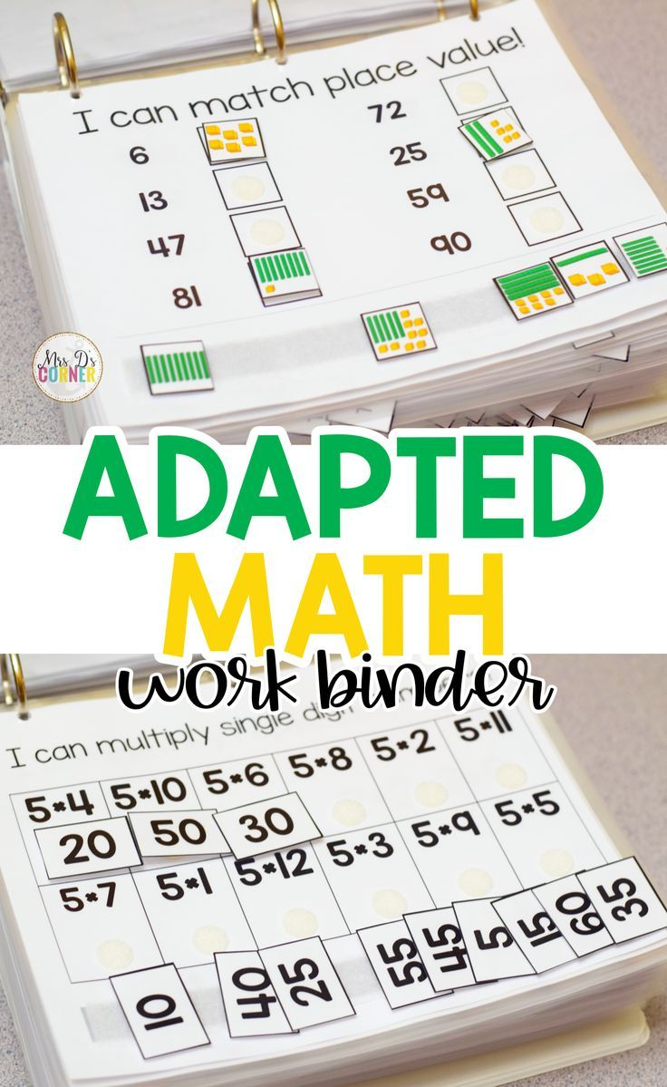 Math Adapted Work Binder Bundle Standards Aligned For Special Needs Special Education Elementary Special Education Activities Elementary Special Education Activities [ 1199 x 736 Pixel ]