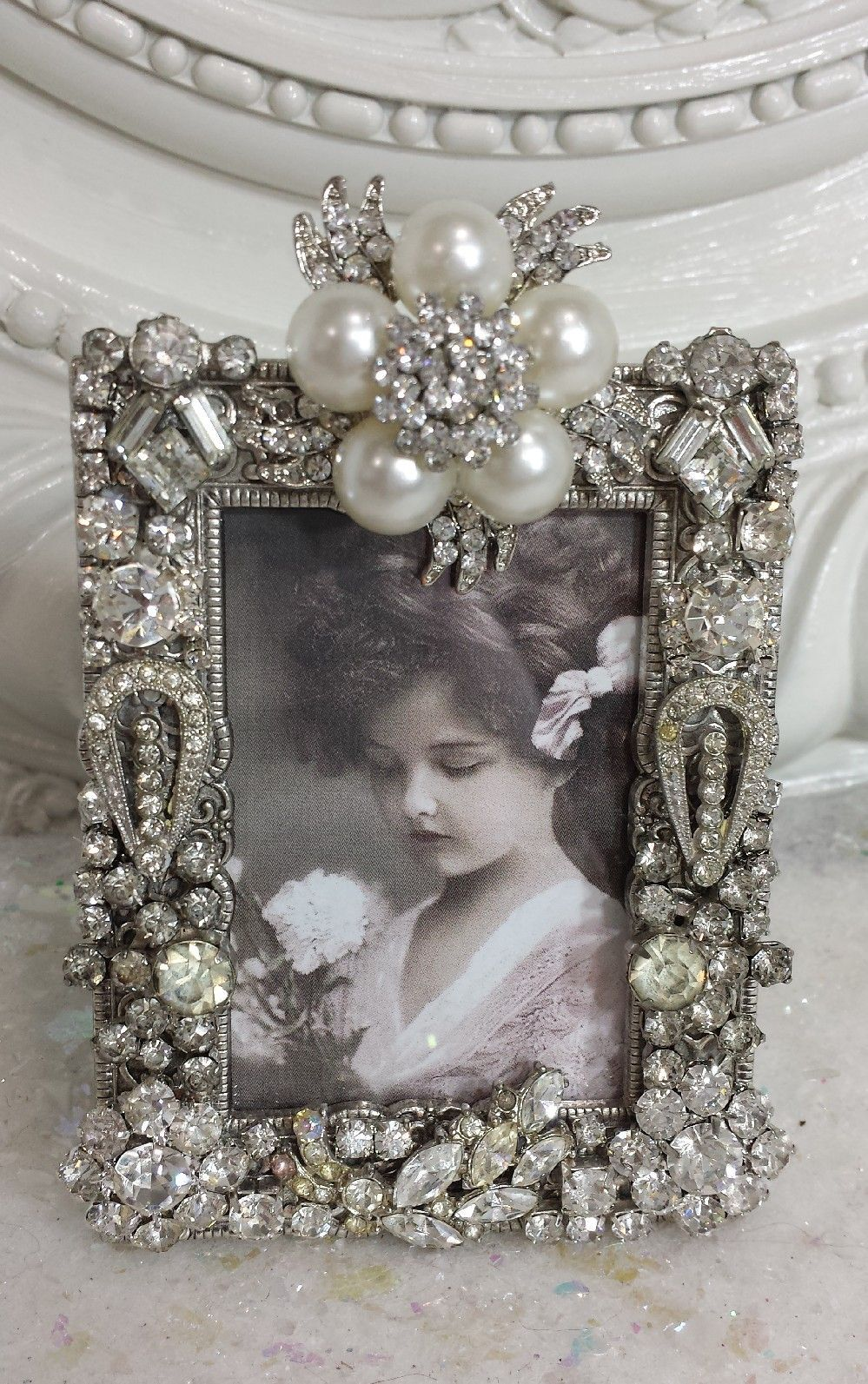 Vintage Rhinestone frame Cornici argentate, Gioielli
