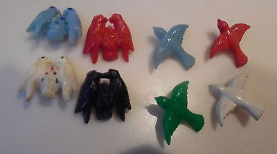 VINTAGE LOT OF 8 REALISTIC/GOOFIE PLASTIC BIRD BUTTONS 1940'S LOVEBIRDS in Collectibles   eBay
