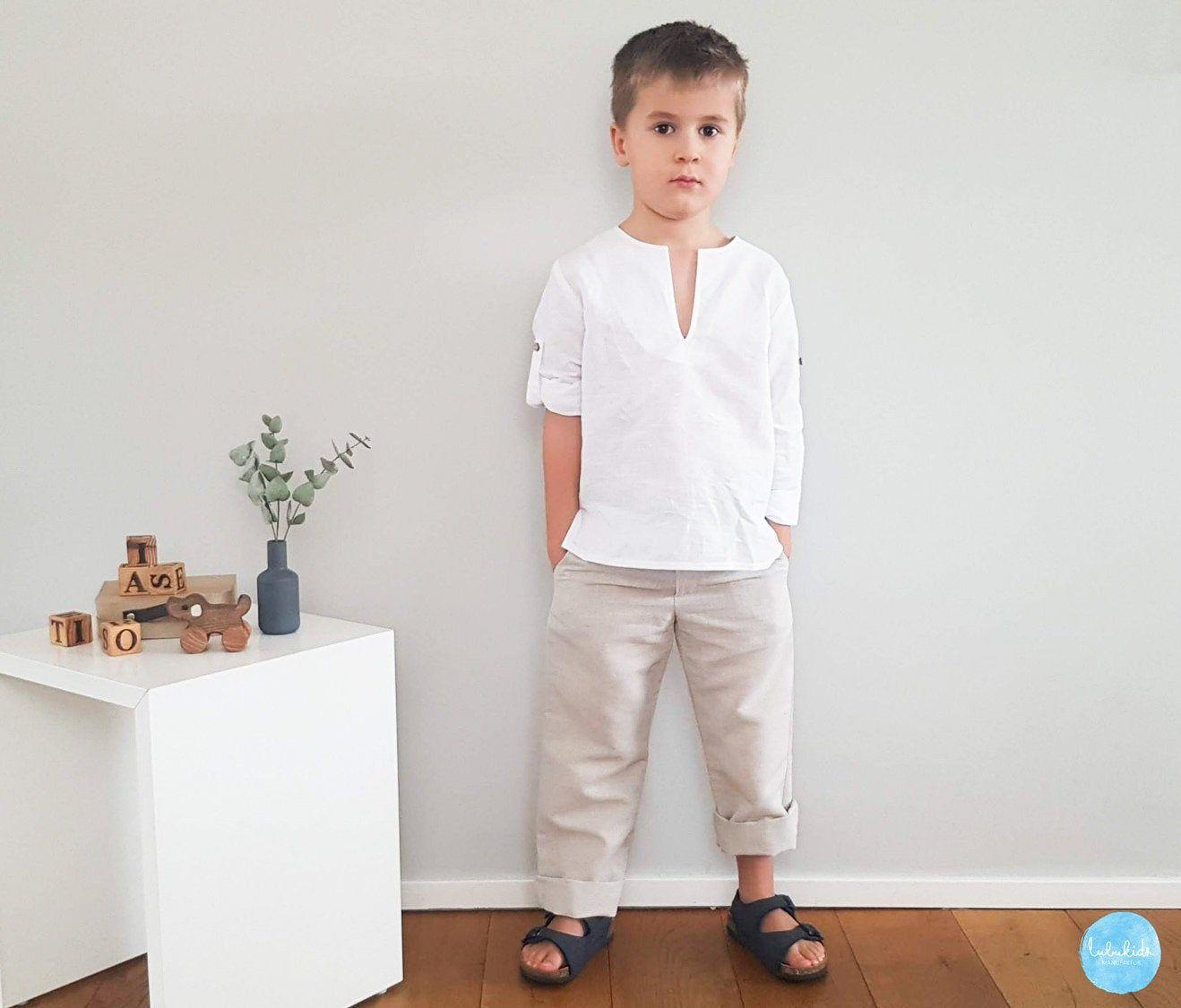 2 Teiliges Jungen Outfit Lange Hose Weisses Hemd Zum Etsy Boy Outfits Long Linen Pants Kids Suits