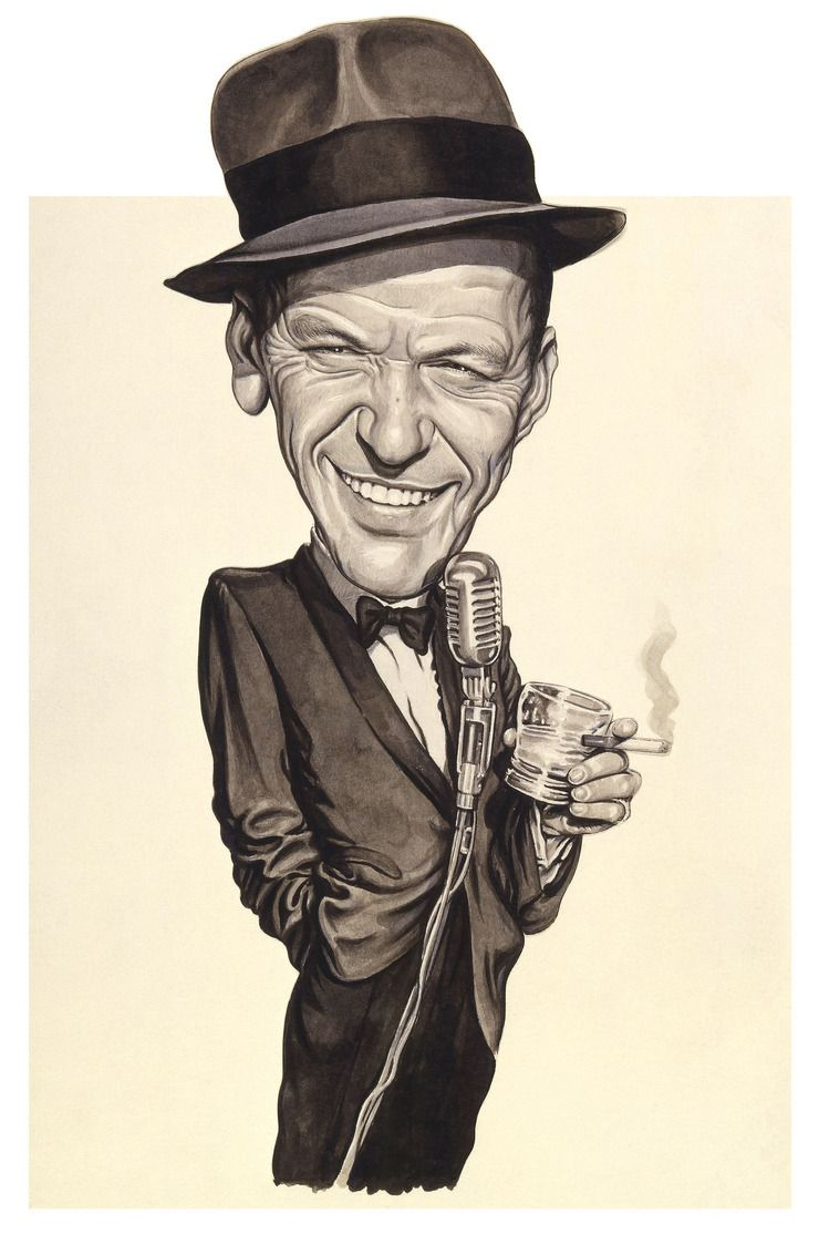 Vintage Frank Sinatra Real Autographed Caricature Done By Paul Sawyer Music