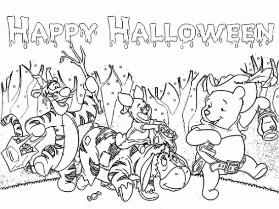 Free Pooh Friends Halloween Coloring Pages for Kids Picture 11